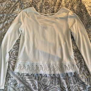 Charlotte Russe long sleeve lace trimmed top